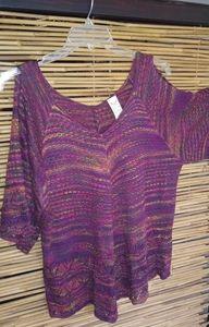 Purple Mix Knot Pullover Sweater Tunic 2X Plus